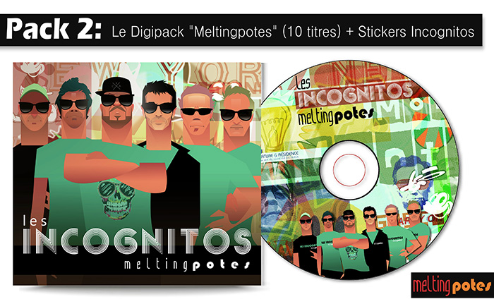Acheter l'album des Incognitos : L'album digipack Melting Potes + stickers Incognitos